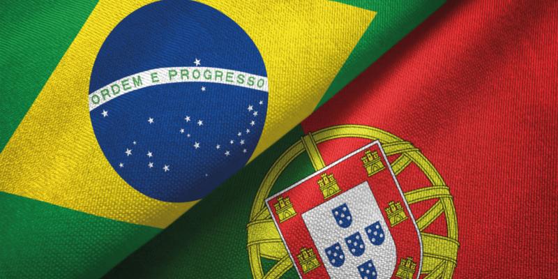 Bandeira portuguesa e brasileira